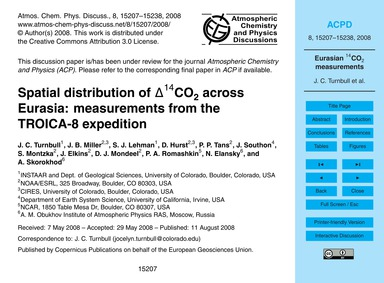 Spatial Distribution of Δ14Co2 Across Eu... by Turnbull, J. C.