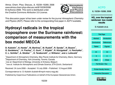 Hydroxyl Radicals in the Tropical Tropos... by Kubistin, D.