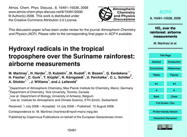 Hydroxyl Radicals in the Tropical Tropos... by Martinez, M.