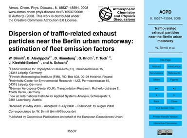 Dispersion of Traffic-related Exhaust Pa... by Birmili, W.