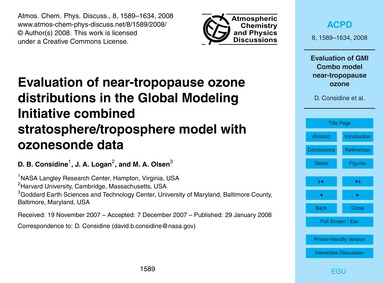 Evaluation of Near-tropopause Ozone Dist... by Considine, D. B.
