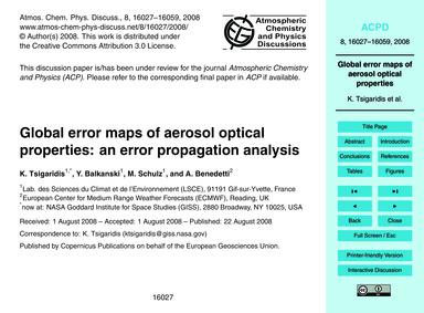 Global Error Maps of Aerosol Optical Pro... by Tsigaridis, K.