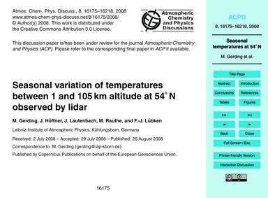Seasonal Variation of Temperatures Betwe... by Gerding, M.