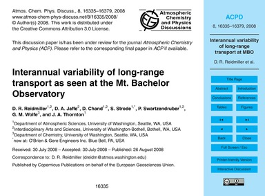 Interannual Variability of Long-range Tr... by Reidmiller, D. R.