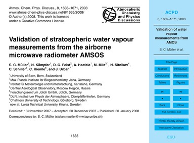 Validation of Stratospheric Water Vapour... by Müller, S. C.
