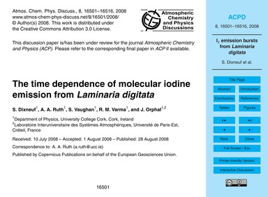 The Time Dependence of Molecular Iodine ... by Dixneuf, S.