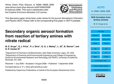 Secondary Organic Aerosol Formation from... by Erupe, M. E.