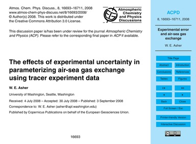 The Effects of Experimental Uncertainty ... by Asher, W. E.