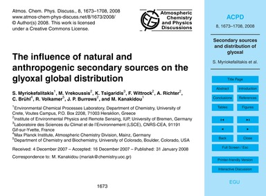 The Influence of Natural and Anthropogen... by Myriokefalitakis, S.