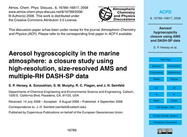 Aerosol Hygroscopicity in the Marine Atm... by Hersey, S. P.
