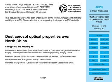 Dust Aerosol Optical Properties Over Nor... by Shengjie Niu