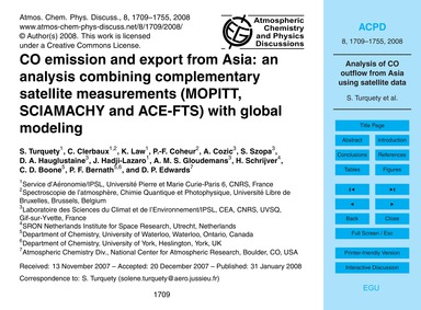 Co Emission and Export from Asia: an Ana... by Turquety, S.