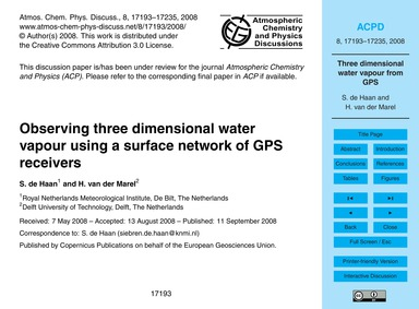 Observing Three Dimensional Water Vapour... by De Haan, S.