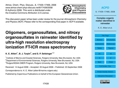 Oligomers, Organosulfates, and Nitroxy O... by Altieri, K. E.