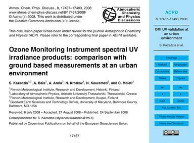 Ozone Monitoring Instrument Spectral Uv ... by Kazadzis, S.