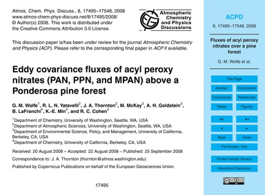 Eddy Covariance Fluxes of Acyl Peroxy Ni... by Wolfe, G. M.