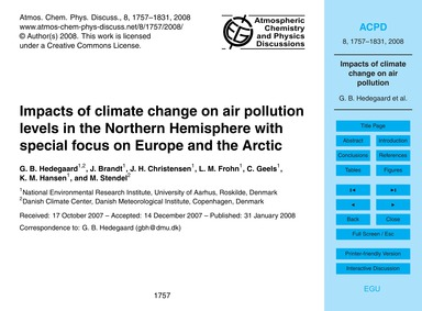 Impacts of Climate Change on Air Polluti... by Hedegaard, G. B.