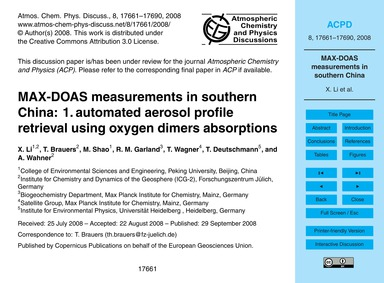 Max-doas Measurements in Southern China:... by Li, X.