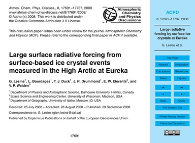 Large Surface Radiative Forcing from Sur... by Lesins, G.