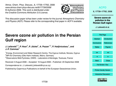 Severe Ozone Air Pollution in the Persia... by Lelieveld, J.