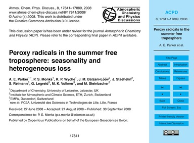 Peroxy Radicals in the Summer Free Tropo... by Parker, A. E.