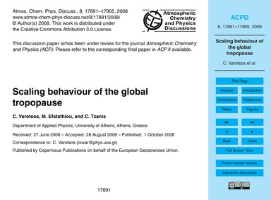 Scaling Behaviour of the Global Tropopau... by Varotsos, C.