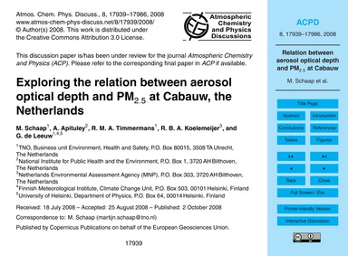 Exploring the Relation Between Aerosol O... by Schaap, M.