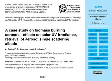 A Case Study on Biomass Burning Aerosols... by Bagheri, A.