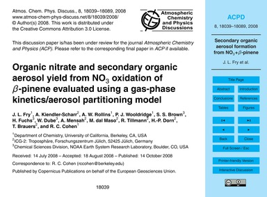 Organic Nitrate and Secondary Organic Ae... by Fry, J. L.