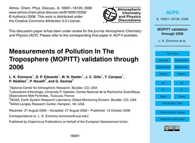 Measurements of Pollution in the Troposp... by Emmons, L. K.