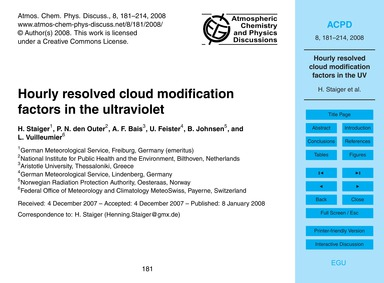 Hourly Resolved Cloud Modification Facto... by Staiger, H.