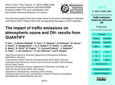 The Impact of Traffic Emissions on Atmos... by Hoor, P.