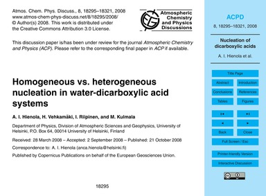 Homogeneous Vs. Heterogeneous Nucleation... by Hienola, A. I.
