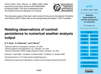 Relating Observations of Contrail Persis... by Duda, D. P.