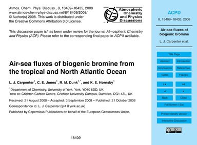Air-sea Fluxes of Biogenic Bromine from ... by Carpenter, L. J.
