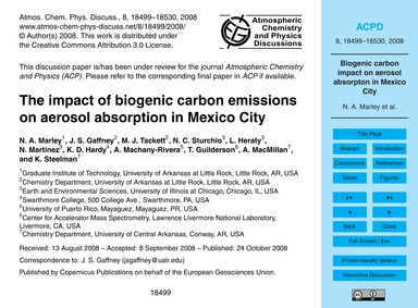 The Impact of Biogenic Carbon Emissions ... by Marley, N. A.