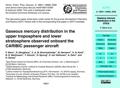 Gaseous Mercury Distribution in the Uppe... by Slemr, F.
