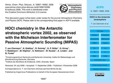 Hocl Chemistry in the Antarctic Stratosp... by Von Clarmann, T.