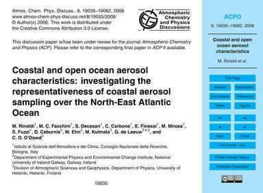 Coastal and Open Ocean Aerosol Character... by Rinaldi, M.