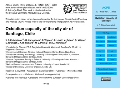 Oxidation Capacity of the City Air of Sa... by Elshorbany, Y. F.