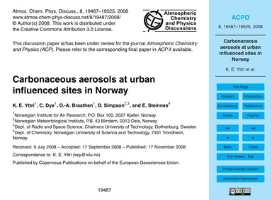 Carbonaceous Aerosols at Urban Influence... by Yttri, K. E.