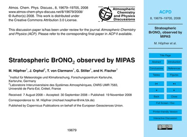 Stratospheric Brono2 Observed by Mipas :... by Höpfner, M.