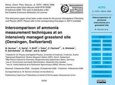 Intercomparison of Ammonia Measurement T... by Norman, M.
