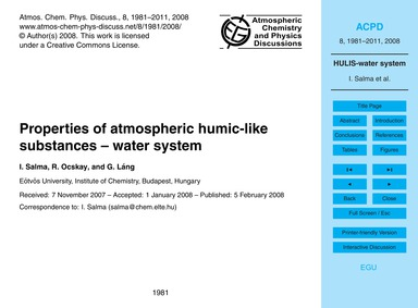 Properties of Atmospheric Humic-like Sub... by Salma, I.