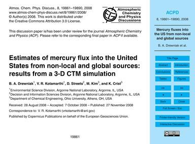 Estimates of Mercury Flux Into the Unite... by Drewniak, B. A.