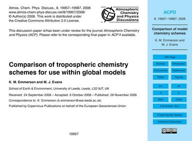 Comparison of Tropospheric Chemistry Sch... by Emmerson, K. M.