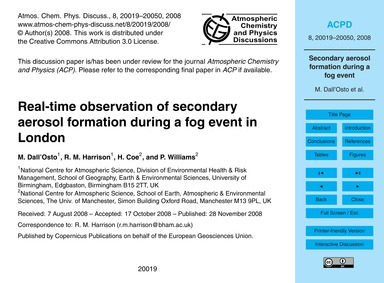 Real-time Observation of Secondary Aeros... by Dall'Osto, M.