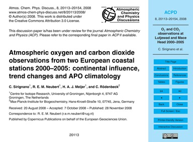 Atmospheric Oxygen and Carbon Dioxide Ob... by Sirignano, C.