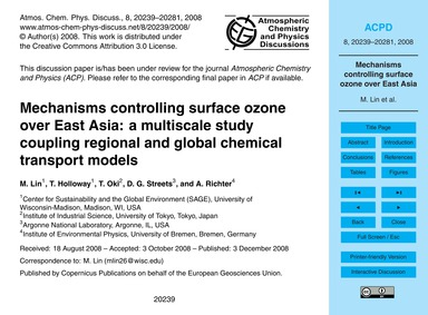 Mechanisms Controlling Surface Ozone Ove... by Lin, M.