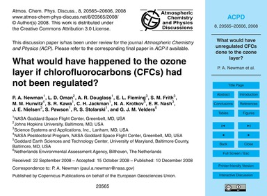 What Would Have Happened to the Ozone La... by Newman, P. A.